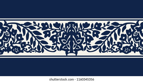Seamless woodblock printed indigo dye ethnic floral border. Traditional oriental ornament of India, flower wave motif, navy blue on ecru background. Textile design.