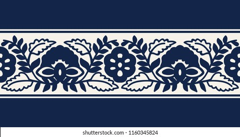Seamless woodblock printed indigo dye ethnic floral border. Traditional oriental ornament of India, flower and damask wave motif, navy blue on ecru background. Textile design.