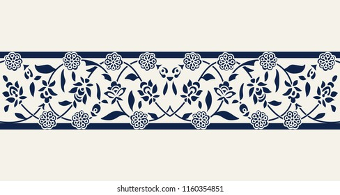Seamless woodblock printed indigo dye ethnic floral border. Traditional oriental ornament of India, double flower garland motif, navy blue on ecru background. Textile design.