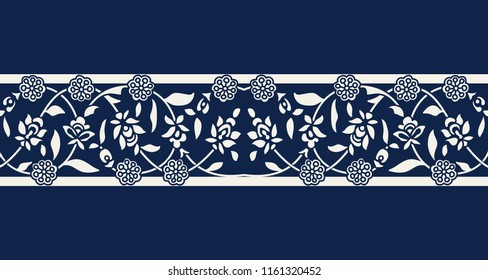 Seamless woodblock printed indigo dye ethnic floral border. Traditional oriental ornament of India, double flower garland motif, ecru on navy blue background. Textile design.