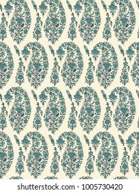 Seamless woodblock printed paisley pattern. Traditional oriental ethnic ornament of Kashmir, teal and turquoise blue hues on ecru background. Textile design.