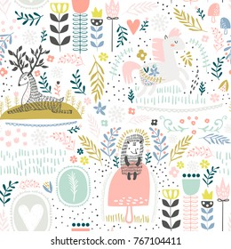 Seamless woodland pattern. Creative height detailed background. Perfect for kids apparel,fabric, textile, nursery decoration,wrapping paper.Vector Illustration
