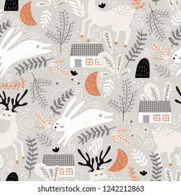 Seamless woodland pattern with deer, bunny and forest house. Creative kids for fabric, wrapping, textile, wallpaper, apparel. Vector illustration