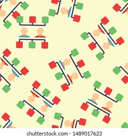 Seamless workflow icon pattern on moccasin background. Simple flat vector design with bright colors for wrapping paper or web.