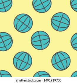 Seamless worldwide icon pattern on moccasin background. Simple flat vector design with bright colors for wrapping paper or web.