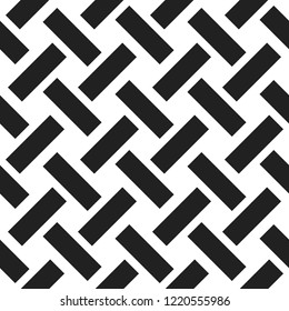 Seamless woven stripes lattice pattern. Modern stylish texture. Repeating abstract background with interlacing lines. Simple monochrome grid