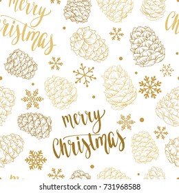 Seamless Xmas pattern with pine cones, snowflakes and handwritten calligraphy Christmas and New year vector phrase. Hand drawn illustration for your design on white background.