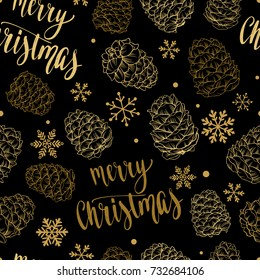 Seamless Xmas pattern with pine cones, snowflakes and handwritten calligraphy Christmas and New year vector phrase. Hand drawn illustration for your design on black background.
