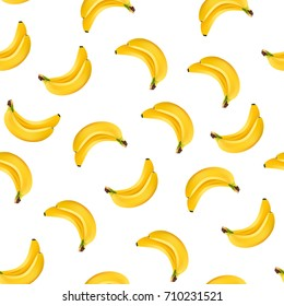 Seamless yellow banana pettern on white background. vector, illustration