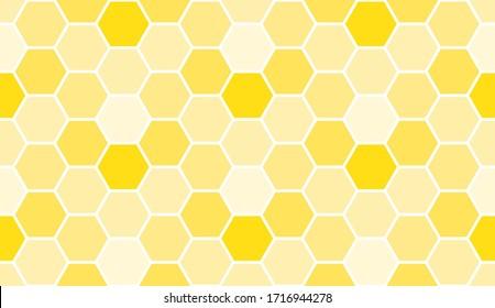Seamless yellow bee honeycomb pattern, art background template. Vector honey texture