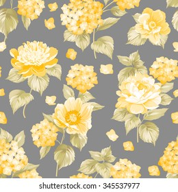 Seamless yellow flower pattern for fabric design. Vector illustration.