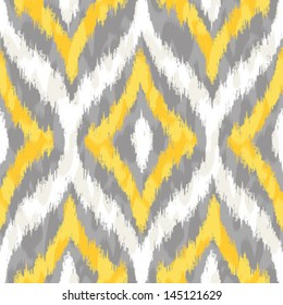 Seamless Yellow and Grey Ikat Ogee Background Pattern