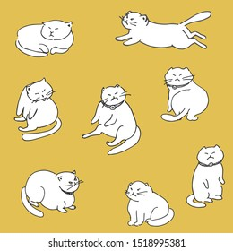 Seamless yellow pattern with white chubby grumpy cats with collar and bell, running, sleeping, sitting like humans. Humor. Hand drawing.