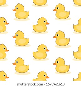 Seamless with yellow rubber duck swimming vector illustration. Cute cartoon animal pattern for print.