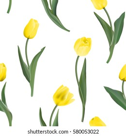 Seamless from yellow tulips. Vector illustration.