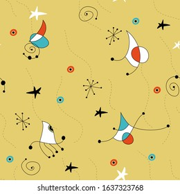 Seamless  yellow vector pattern in midcentury retro style. Miro inspired abstract drawing.