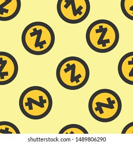 Seamless zcash icon pattern on moccasin background. Simple flat vector design with bright colors for wrapping paper or web.