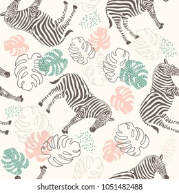 seamless zebra pattern and tropical leaves , vector illustration of a tropical print