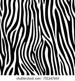 Seamless zebra skin pattern. Wallpaper with black stripes on white background. Zebra stripes hunting camouflage. Vector illustration.