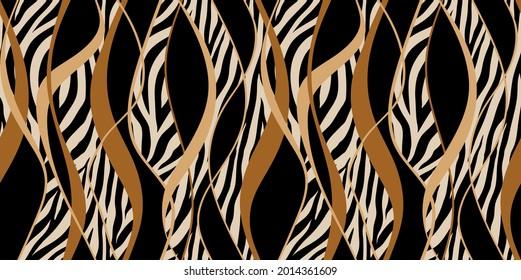 Seamless zebra skin with wavy pattern. Vector Illustration.