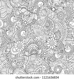 Seamless zentangle doodle seamless pattern in adult coloring book style