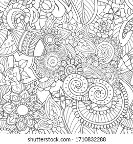 Seamless zentangle pattern of abstract leaves and plants