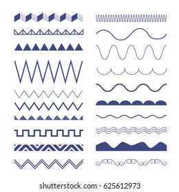 Seamless zig zag and wave lines. Graphic design elements