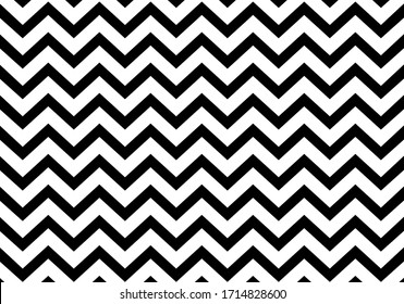 Seamless zigzag line pattern. Black horizontal zig zag vintage lines. Horizontally seamless. Vector illustration.