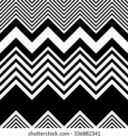 Seamless Zigzag Pattern. Abstract Black and White Stripe and Line Background. Vector Regular Zig Zag Geometric Texture. Minimal Print Design