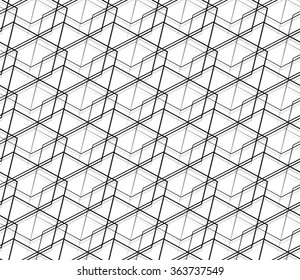 Seamlessly repeatable abstract, monochrome grid, mesh pattern. Editable vector
