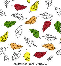 Seamlessly retro wallpaper with autumn foliage