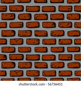 Seamlessly tile-able brick wall pattern, drawn by hand.