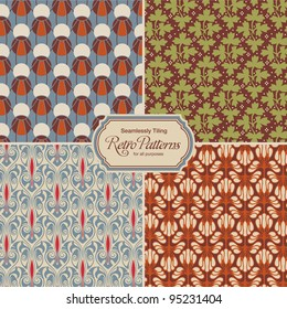 seamlessly tiling retro patterns - set of four designs