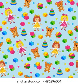 seamless,pattern with toys on a blue background,illustration,vector