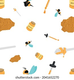 Seamless-Pattern-Background of Honey, Bees, Honeycomb, Honey stick and Honey serum