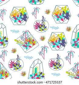 seamless,Vector set with succulents, flowers and glass terrariums,background succulents