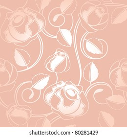 Seamless-wallpaper pattern with of roses, vector