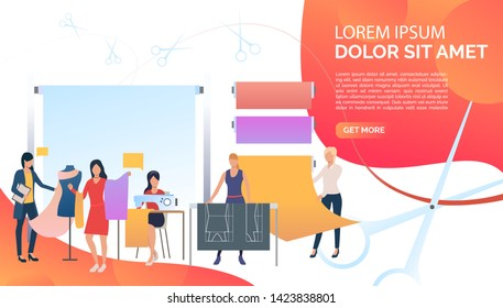 Seamstress, designers and dressmakers working in atelier. Tailoring, fashion, custom clothing concept. Presentation slide template. Vector illustration for topics like business, sewing studio, atelier