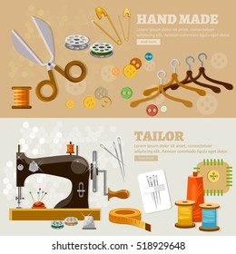 Seamstress and tailor banners fashion designer needlework tailoring tools vector illustration