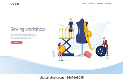 Seamstress vector website template, web page and landing page design for website and mobile site development. Sewing workshop, atelier, custom clothing with characters working in tailoring shop.