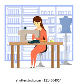 seamstress in the workshop, sewing workshop, girl and sewing machine,  needlewoman