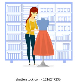 seamstress in the workshop, sewing workshop,  needlewoman, clothing design