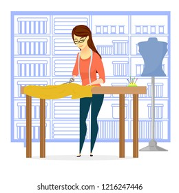 seamstress in the workshop, sewing worksho,  needlewoman, clothing design, cutting clothes
