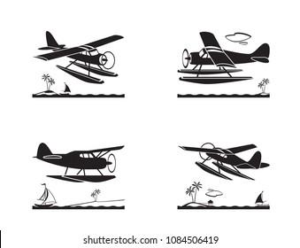 Seaplane in flight over sea - vector illustration