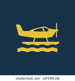 seaplane icon, seaplane symbol. Flat vector sign isolated on blue background. Simple vector illustration for graphic and web design.