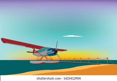 The seaplane is on the water near the pier at sunset, vector illustration
