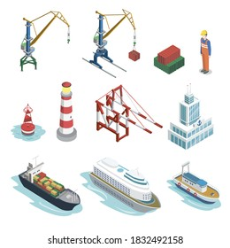 Seaport equipment. Isometric naval ship nautical transport, different cargo crane and lighthouse. Vector marine logistic isolated set. Industrial sea port freight transport and equipment illustration