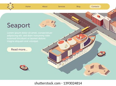 Seaport Isometric Banner with Ocean Liner and Place for Presentation Text. Transport Logistic Sea and Transportation. Floating Tugboat, Buses Driving People to Cruise Ship. Vector 3d Illustration.