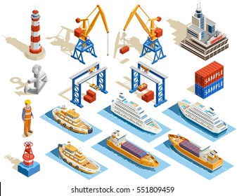 Seaport isometric set of industrial cruise ships marine tugs worker anchor cranes containers lighthouse isolated vector illustration