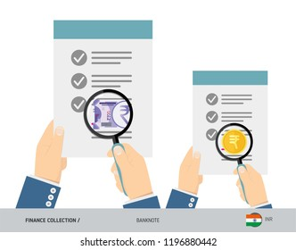 Search 100 Indian Rupee Banknote and coin. Flat style vector illustration. Favorable conditions concept.